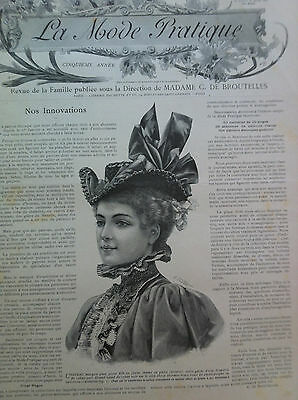 LAST ONE ! ORIGINAL MODE PRATIQUE March 21, 1896 + French SEWING PATTERN