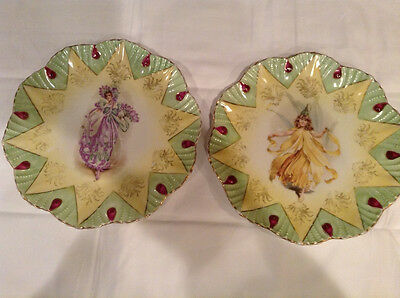 """VINTAGE RARE PAIR OF 8"""" LADY FASHION CABINET PLATES BY CHARLES AHRENFELDT"""