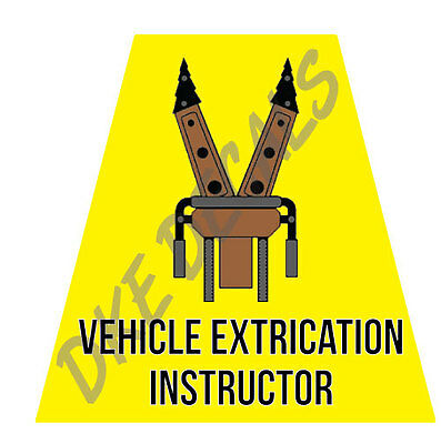 Vehicle Extrication Instructor  Helmet Tets Tetrahedrons Sticker Yellow