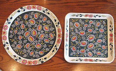 2 Large Vintage Mid-Century Eames Toleware MAXEY Metal Tin TRAYS Retro FLOWERS