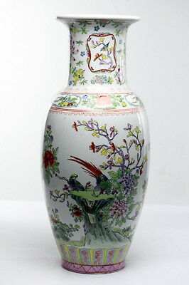 Chinese Porcelain Vase Floral Decorated with Exotic birds
