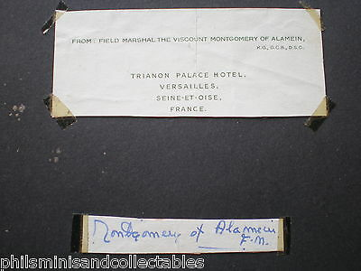 Field Marshal Montgomery of Alamein  signed paper