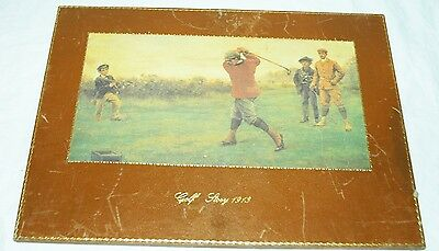 Golf Story 1913 Vintage Leather Photo Plaque Made In Florence Italy Putting