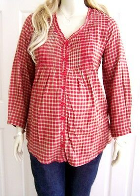 NEW Ruby Plaid Flannel Ruffle Trim Pintuck Maternity Top PLUS Size 26-28W