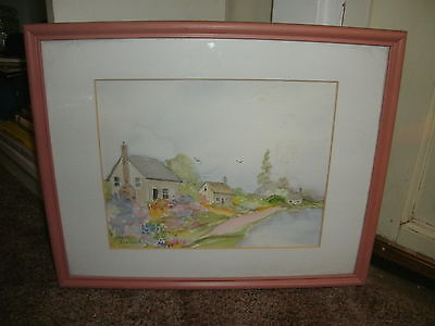 'Sheila Ireland' Original Watercolor Painting of Colorful Village Signed Framed