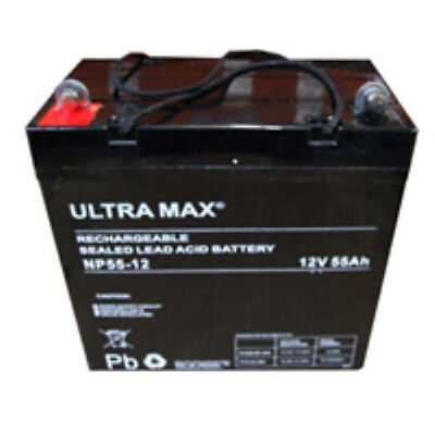 2 X ULTRA MAX 12V 55Ah SUNRISE MEDICAL DIPLOMAT 300400 CHAISE ROULANTE BATTERIES
