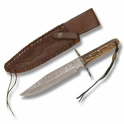 Colt Knives 278 Damascus Hunter Fixed Blade Knife with Genuine Stag Handles