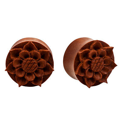 "PAIR Organic Carved WOOD Detailed Flower Plugs 0g - 1"" Flesh Rare Unique"