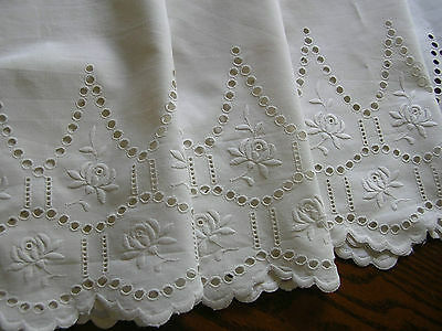 """EXQUISITE! Antique German White EYELET BRODERIE ANGLAISE LACE TRIM 11""""x 79"""""""