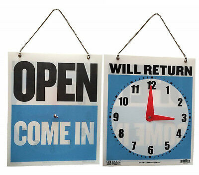 7.5 x 9 Inches Come In/Open or Will Return Plastic Flip Sign with Clock Hands,