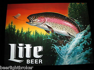 NEW VTG Miller Lite Beer RAINBOW TROUT IN MOTION Bar Light FLY FISHING PUB Sign