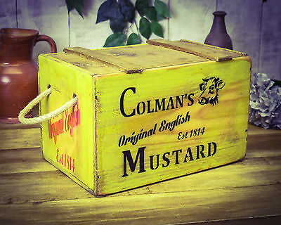 Vintage antiqued wooden Chest Trug, English Mustard