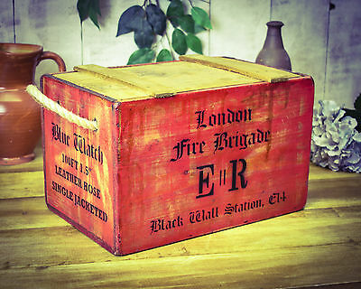Vintage antiqued wooden Chest, Fire Brigade Box, Blue Watch