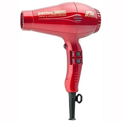 Parlux 3800 Eco Friendly Ceramic Ionic Hair Dryer. Compact & Lightweight RED
