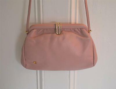 VINTAGE PINK LEATHER HANDBAG 60S 70S JANE SHILTON SHOULDER BAG GOLD TONE CLASP