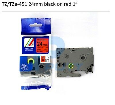 1 each TZ TZe For Brother 451 BLACK RED Label Tape Compatible 26 ft 24mm 1""