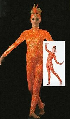FLAME Dance Costume The Lion King Fire Acro Catsuit Stirrup Unitard Ice Skating