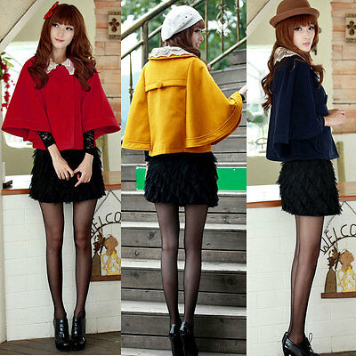 Women Batwing Sleeve Double Breasted Lace Collar Cape Coat Cloak Outerwear