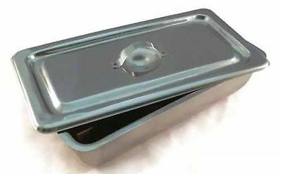 "Large Instrument Tray + Lid Stainless Tattoo/Piercing Surgical Medical 12""x8""x2"""