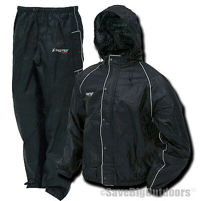 L LG Frogg Toggs Refelctive Black Road Toads Toad Motorcycle Rain gear suit