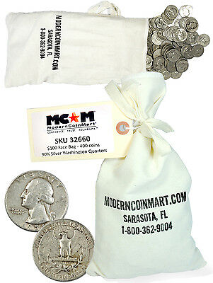 $100 Face Bag - 400 Coins - 90% Silver 25c Washington Quarters Avg Circ SKU32660