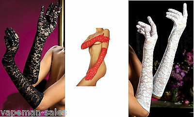 Sexy Elegant Ladies Long Lace Gloves Red, White & Black Available Design 4