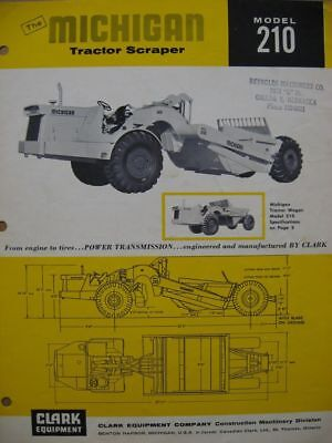 1963 Model 210 Michigan Tractor Scraper Catalog Sheet Brochure Clark Equipment
