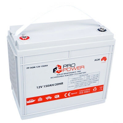 Pro Power 12V Volt 150AH AGM Deep Cycle Battery Caravan 4WD Boat Solar System