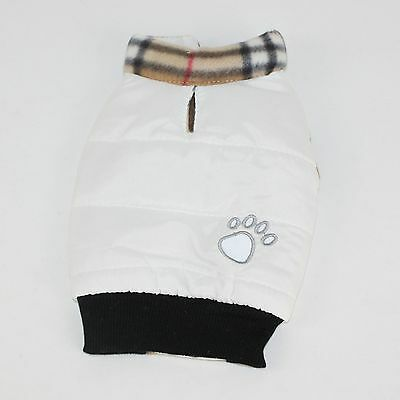 Dog Cat Clothes Pet Winter Apparel Clothing Puppy Coat White XS Back 7.8inch