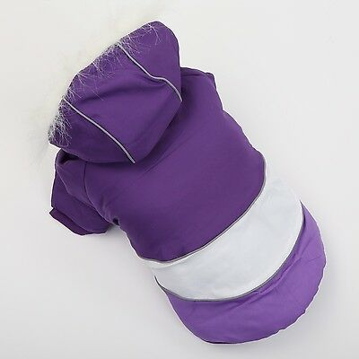 Dog Clothes Pet Jacket Apparel Puppy Dog Clothing Warm Coat Hoodie Purple Size S