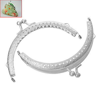 5PCs Metal Frame Kiss Clasp Arch For Purse Bag Silver Tone 10.6cm x 6.7cm(Can O