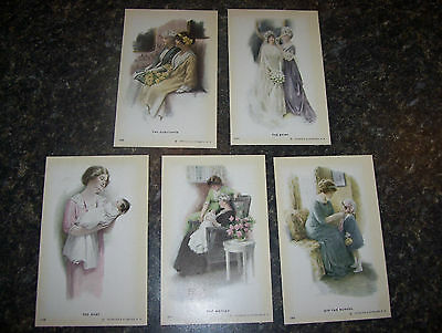 RARE Original   5 POSTCARDS   Bessie Pease Gutmann  STAGES OF A GIRLS LIFE Nice!