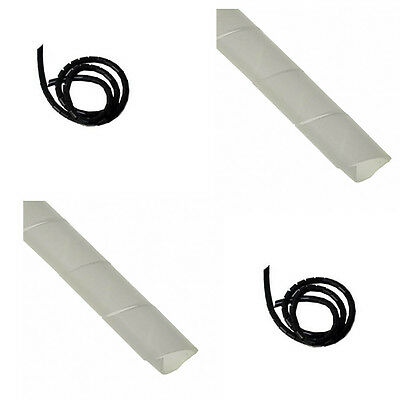 6mm Diameter Spiral Binding White Black Cable Tidy Wrap 0.5-25m Lead Protector