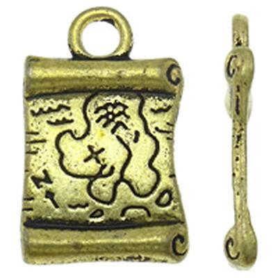 10pc 19x12mm antique gold finish metal ancient map pendant-9492