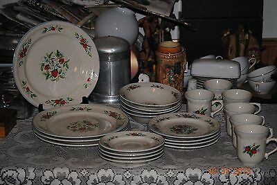 22 pc set of Strawberry Pattern Stoneware by Tabletops Unlimited EUC