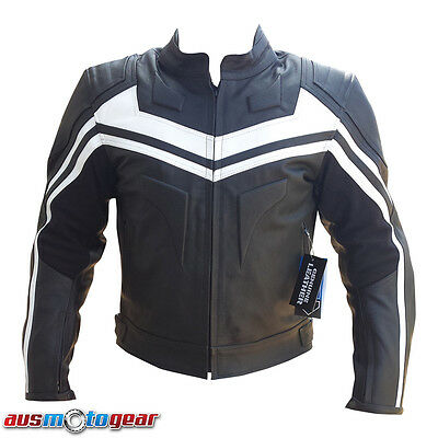 Motorbike Bikers Motorcycle Leather Jacket BLK & WHITE Limited Stock!