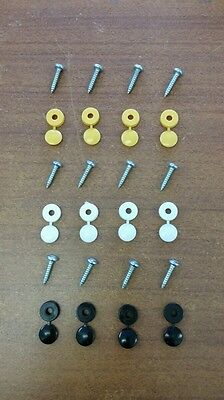 Number Plate Screws Fitting Kit Fixing Kit Screws & Caps X12 Black Yellow White