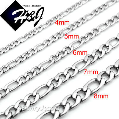 "18-40""MEN Stainless Steel 2/3/4/5/6/7/8mm Silver Figaro Link Chain Necklace*N114"