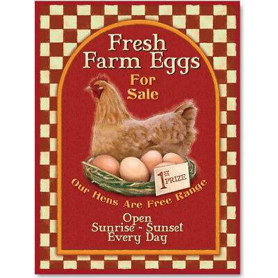 Farm Fresh Eggs For Sale Metal Sign Chickens Country Kitchen Decor 12 x 16