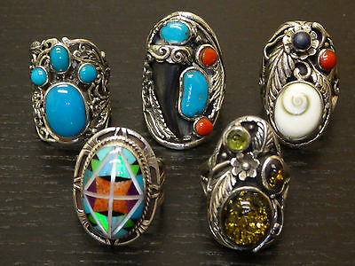 Jewelry Lot of 5 925 Sterling Silver Mix Of Mixed Gemstone Rings NA102