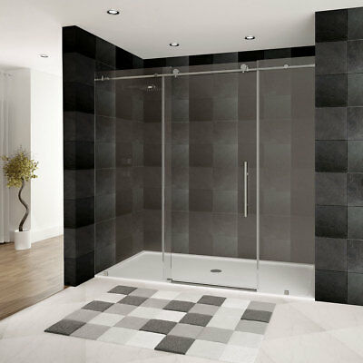 LessCare Glass Shower Door ULTRA-C 68-72 Wide x 76 High Brushed Nickel Finish