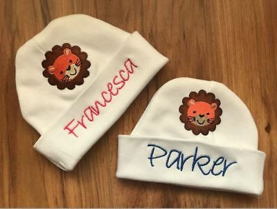 572b3a375178e PERSONALIZED MONOGRAM CUSTOM Baby Newborn Hospital Hat Cap Beanie Jungle  Lion