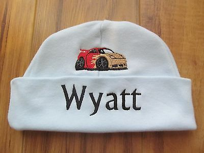 d9f4ac041 PERSONALIZED MONOGRAM CUSTOM Baby Boy Newborn Hospital Hat Beanie Race Car  GIFT!