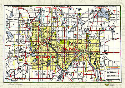 Mpls St Paul MN Twin Cities 1950 Map Poster Vintage Street Tourist Guide