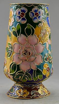 Collectible Decorated Old Handwork Cloisonne Carved Flower Brush Pot