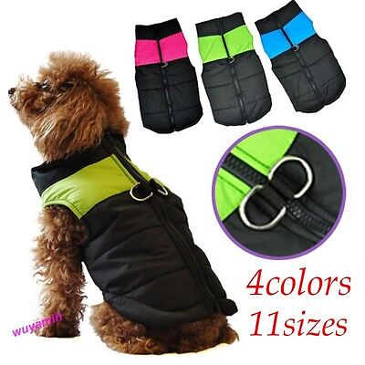 Small Waterproof Dog Coat Jacket Winter Quilted Padded Puffer pet clothes