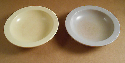 2 Vintage Melamine Soup Cereal Bowls Boonton ware Yellow Tan NJ USA 303-10