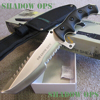 """Shadow Ops 11"""" TACTICAL KNIFE w/Sheath - Combat Fighting Hunting - Satin/Sil Fin"""