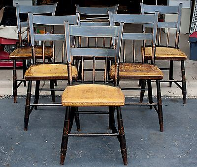 Set of 6 Plank Seated, Half Spindle Back, Painted Chairs circa 1840-60