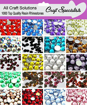 1000 Flat Back Rhinestones Resin Gems Diamante Crystals 2mm 3mm 4mm 5mm